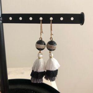 Black Grey and White Tassel Earrings!